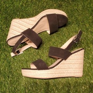 Espadrille Wedges with Black Straps